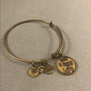 Alex and Ani gold charm bracelet